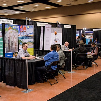 Tradeshow booths on show floor